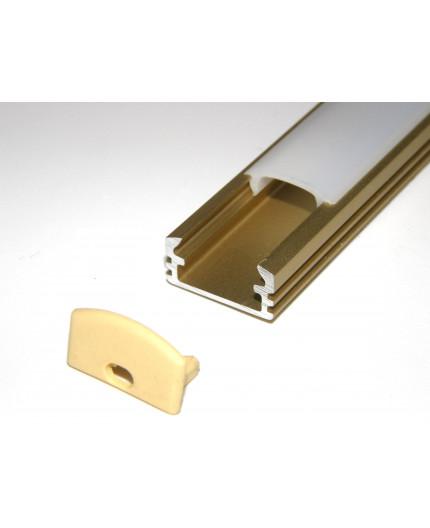 P2 LED profile 2m / 2000mm surface extrusion, anodized aluminium, gold, plus diffuser