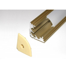 P3 2m / 2000mm anodized gold LED aluminium profile / extrusion / channel with diffuser and end caps (option)