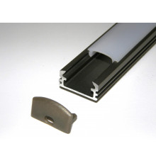 P2 LED profile 2m / 2000mm surface extrusion, anodized aluminium, inox, plus diffuser