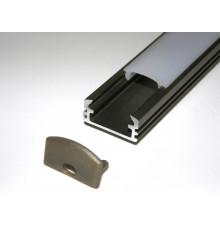P2 LED profile 2m / 2000mm surface extrusion, anodized aluminium, inox, plus diffuser