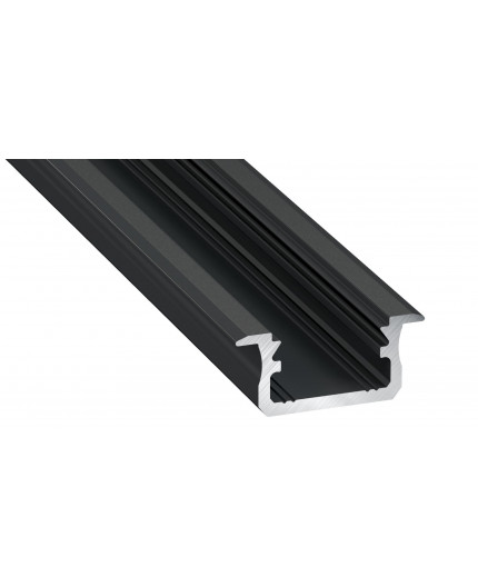 2m LED aluminium profile K1, anodized, black, set with diffuser
