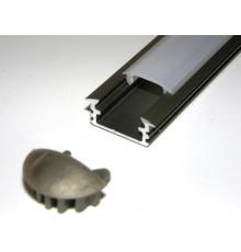 P1 LED profile, 2m / 2000mm recessed extrusion, anodized aluminium, inox, plus diffuser