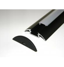 P4 LED profile 1m / 1000mm surface extrusion, anodized aluminium, black, plus diffuser
