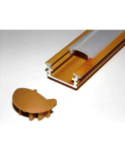 P1 LED profile 2m / 2000mm recessed aluminium extrusion, wood pine effect, plus diffuser