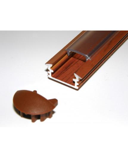 P1 LED profile, 2m / 2000mm recessed aluminium extrusion, wood palisander effect, plus diffuser
