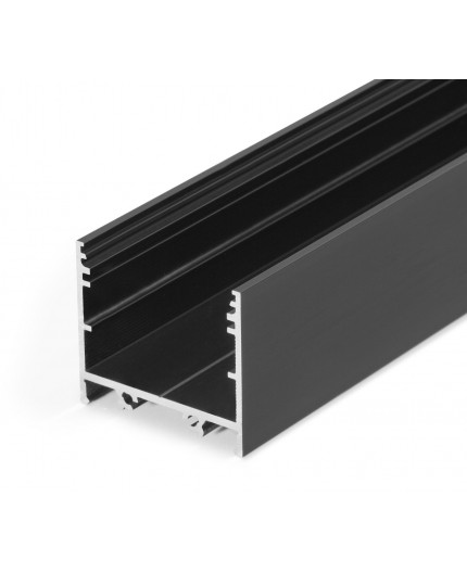 2m LED profile TXL2 (anodized, black) 33mm x 30mm, set with opal cover