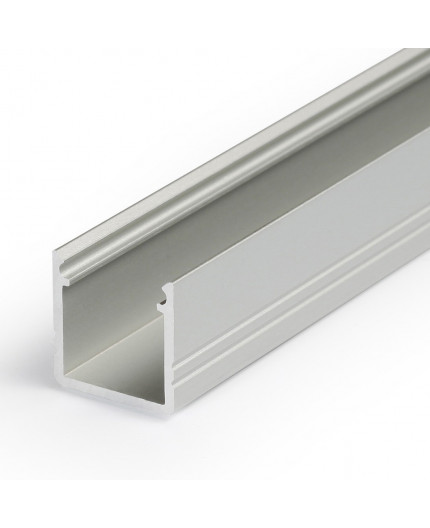 2m LED profile T2 (anodized, silver), 12mm x 12mm, set with cover
