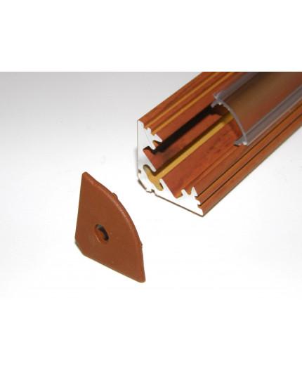 P3 LED profile 2m / 2000mm corner 45 aluminium extrusion, wood palisander effect, plus diffuser