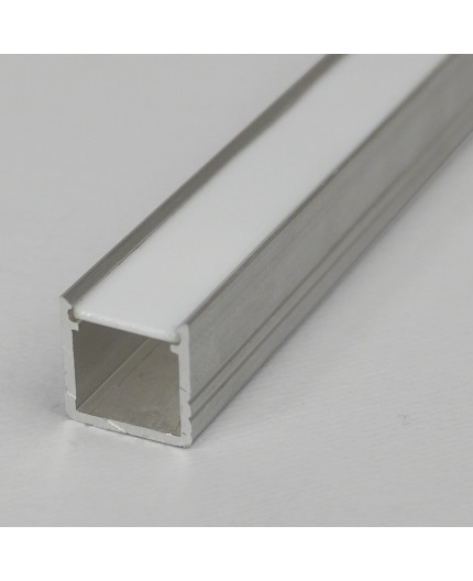 1m LED profile T2 (raw aluminium), 12mm x 12mm, set with cover