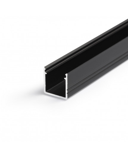 2m LED profile T2 (anodized, black) set with cover 12mm x 12mm