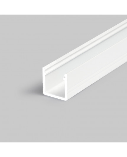 2m T2 LED profile (painted, white), 12mm x 12mm, set with cover