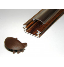 P1 LED profile, 2m / 2000mm recessed aluminium extrusion, wood wenge effect, with diffuser