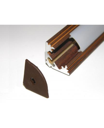 P3 LED profile 2m / 2000mm corner 45 aluminium extrusion, wood wenge effect, plus diffuser