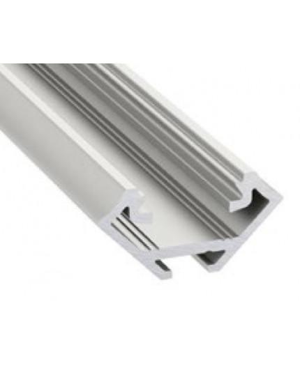 2m corner LED aluminium profile, K3, anodized, silver, set with diffuser