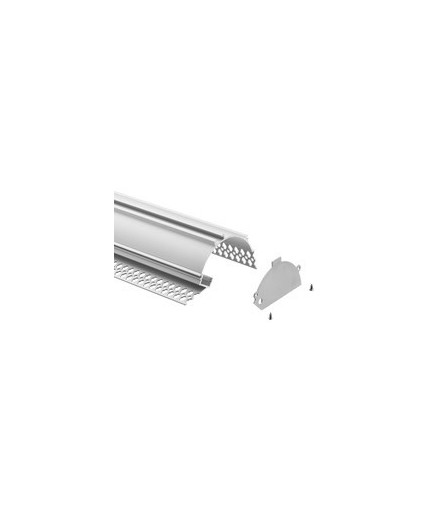 2m Plater-in LED profile APA1 for ceiling and drywall, with opal cover