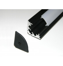 P3 LED profile 3m / 3000m corner 45 extrusion, anodized aluminium, black, with diffuser