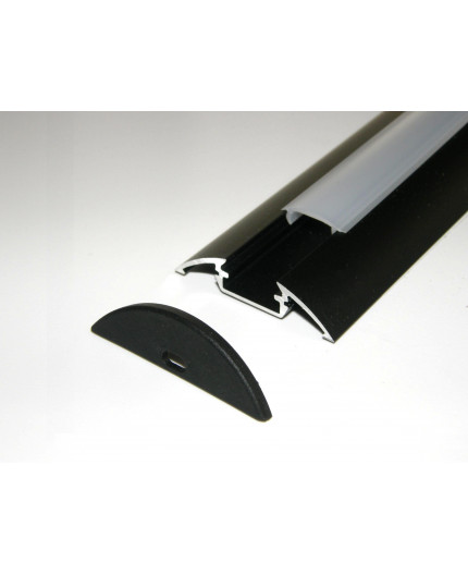 Sample of P4 LED profile surface extrusion, anodized aluminium, black, plus diffuser