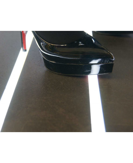 Sample of T5 recessed floor LED profile (anodized, silver), set with opal cover