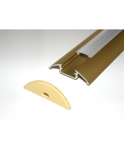 Sample of P4 LED profile surface extrusion, anodized aluminium, gold, with diffuser